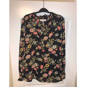 LOFT black floral blouse